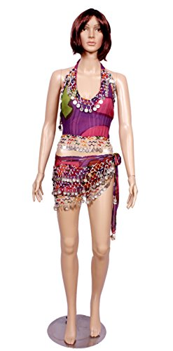 A 2pc Set of Multi Belly Dance Skirt-top & Beaded Hip Scarf Costume Set