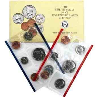 1990 US Mint Uncirculated 10 Coin Set P/D in Original Government ...