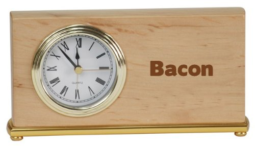 Personalized wooden desk clock with engraved name: Bacon (first name/surname/nickname)