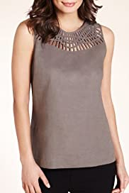 Linen Blend Lattice Trim Shell Woven Top [T43-9150-S]