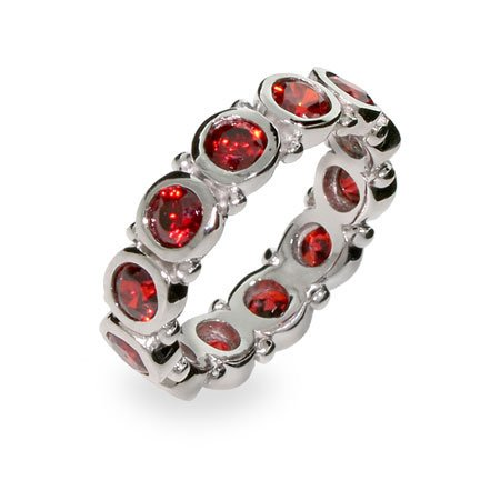 Sterling Silver Bezel Set Garnet Eternity Band Size 8 (Sizes 5 6 7 8 9 Available)