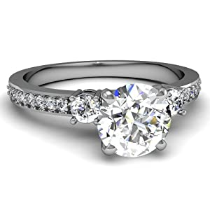 Fascinating Diamonds Aesthetic 1.20 Ct Round Cut Diamond Pave Set Engagement Ring SI2 IGI 14K IGI