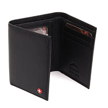 A classic trifold men's wallet style. Made of soft Superb Quality Lambskin Leather. Features Alpine Swiss Logo inside Cross Mark Outside and comes in a cotton gift bag.