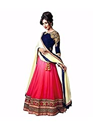 RockChin Fashions Blue and Pink Embroidered Lehenga