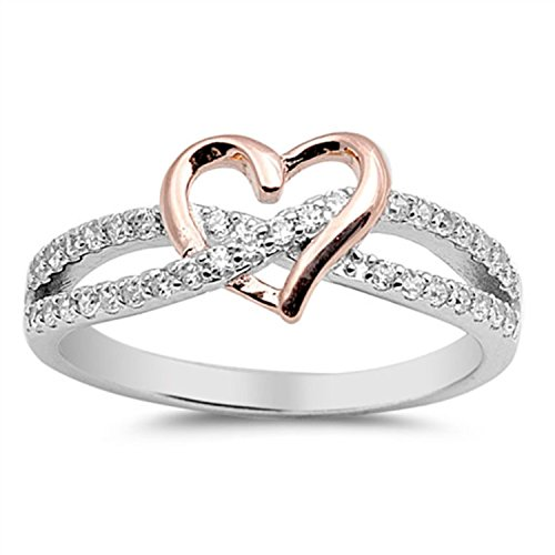 925 Sterling Silver Heart Promise Ring Rose Gold Rhodium PL round clear CZ crisscross engagement Ring (Two Tone Heart Ring compare prices)