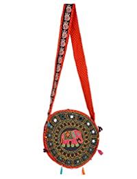 Trendy Black Embroidered Cotton Elephant Sling Bag For Women's By Rajrang
