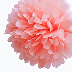 """Dress My Cupcake 14"""" Coral Peach Tissue Paper Pom Poms, Set of 4 - Beach Party Decorations, Spring Party Supplies"""