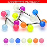 Body Accentz™ 7 Glow in the dark Acrylic Tongue Ring 14g - In Assorted Colors