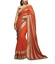 khanak export Women's Georgette Saree(KE_16_Multi-Coloured_Free Size)