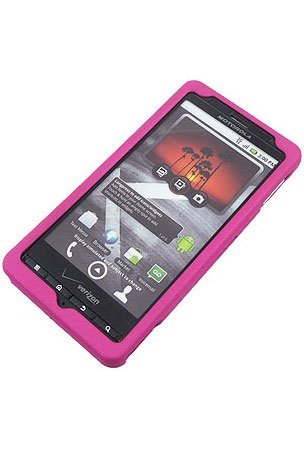 Motorola Droid X MB810 Cell Phone Rubber Feel Hot Pink Protective Case Faceplate Cover
