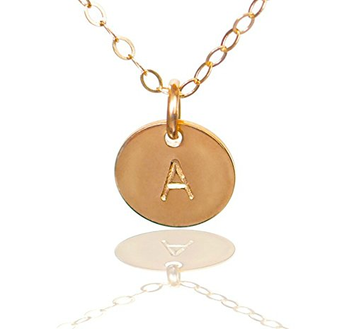 Initial Necklace- Tiny Gold Filled Custom Alphabet Necklace - Dainty Disc, Personalized Monogram Necklace