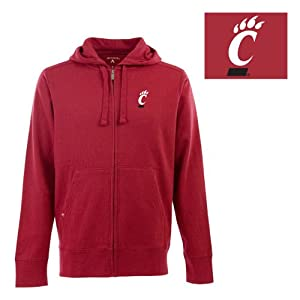 Cincinnati Bearcats NCAA Full Zip Hood Mens Sweatshirt (Dark Red) by Antigua