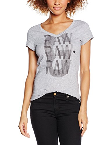 G-Star Phili Slim V T Wmn S, T-Shirt Donna, Bianco (Grey Htr 906), S (Taglia Produttore: S)