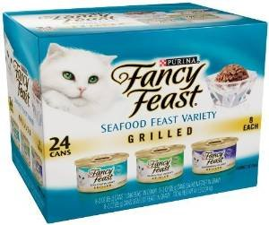 Fancy Feast Gourmet Cat Food, Grilled Seafood Variety Pack, 3-Ounce Cans (48 Can Economy Pack)