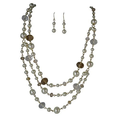 Rosemarie Collections da donna multi strand collana orecchini set cristallo Faux perla oro Tone
