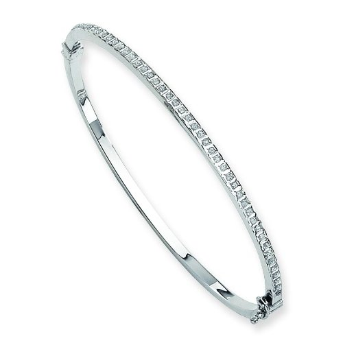 "White Gold IJ Diamond Bangle Bracelet 7"""