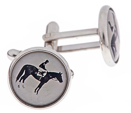 JJ Weston silver plated cufflinks with a black and white image of a horse and jockey horse racing image with presentation box. Made in the U.S.A