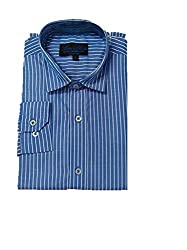 Line Shirt Men's Poly Cotton Formal Shirt(91201_Blue__42)