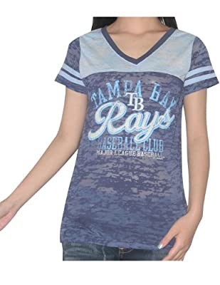 MLB Tampa Bay Rays Womens V-Neck T-Shirt (Vintage Look)