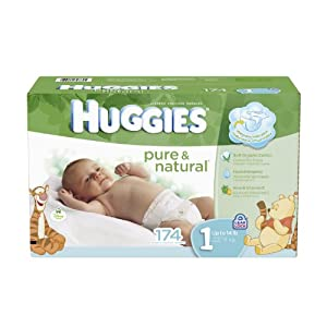 Huggies Pure and Natural Diapers, Size 1, 174 Count