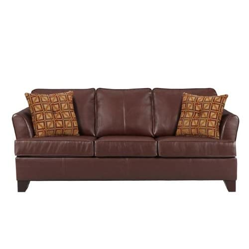 Simmons Umber Brown Soft Bonded Leather Sofa Leather Sleeper Sofa