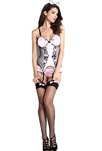 Sexy Bunny Girl 3 Piece Dress Hot Stage Outfit Padded Bra Sexy Lingerie Costume