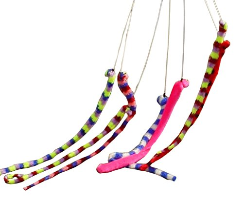 Toyland Cat/dog Toy Coloured Wiggly Worm On Stick