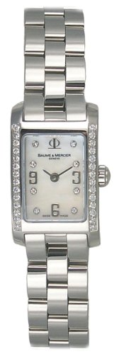 Baume & Mercier Baume Mercier Hampton Womens-small Mother-of-pearl Diamond Dial Diamond Bezel Stainless Steel Watch Moa08681