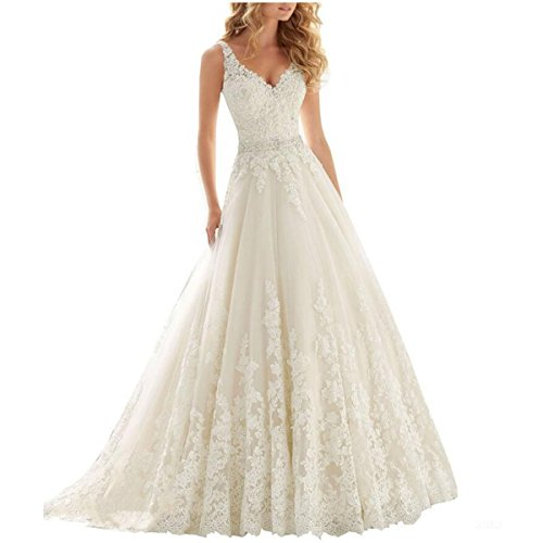 Fair-Lady-Womens-Double-V-Neck-Lace-Applique-Empire-Chapel-Train-Wedding-Dress