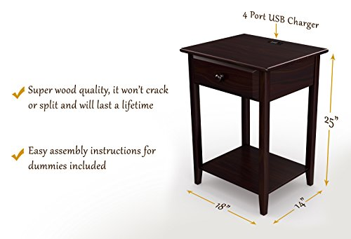 "Stony-Edge Night Stand Side End table with Drawer & Usb Port, for Bedroom or Living Room. Quality Furniture. Espresso Color. 17"" Wide."