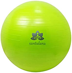 Exercise Ball By Santulana, Anti-burst with Free Pump - Stability Ball for Pilates, Core Strength, Ab Exercises, Balance and Fitness Training, Swiss Ball for Physio, Toning, Gym; or a Sitting Ball for Improving Posture. Low in Odor. 65cm. Lime-green.