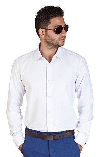 New-Mens-White-French-Cuff-Tailored-Slim-Fit-Herringbone-Textured-Dress-Shirt