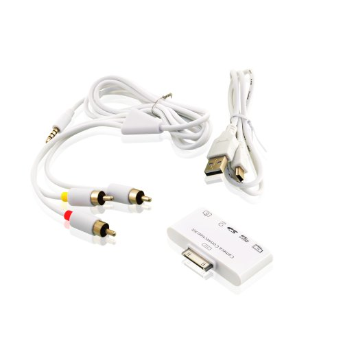5-in-1カメラコネクションキット AV出力 iPad, iPad3, iPad3 用 | カメラ/キーボード/AV/メモリーカードコネクションキット USB/SD-カード/Micro SD- カード/Audio-Video-接続 オリジナルチップ使用 iOS6対応