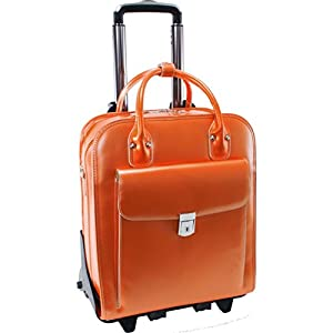 McKleinUSA LA GRANGE 96490 Orange Leather Vertical Detachable-Wheeled Ladies' Briefcase
