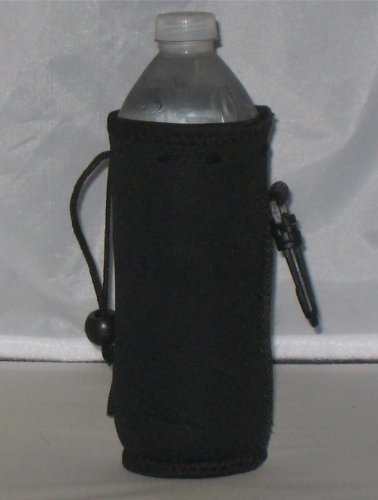 Water Bottle Koozie 2 Pack With Drawstring & Clip, Black