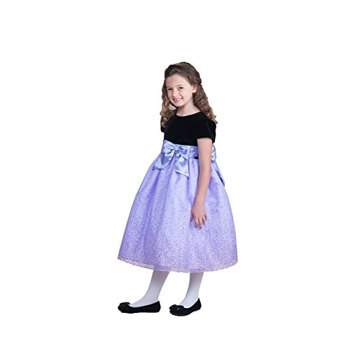 Crayon Kids Little Girls Purple Bow Sparkling Organza Occasion Dress 2T
