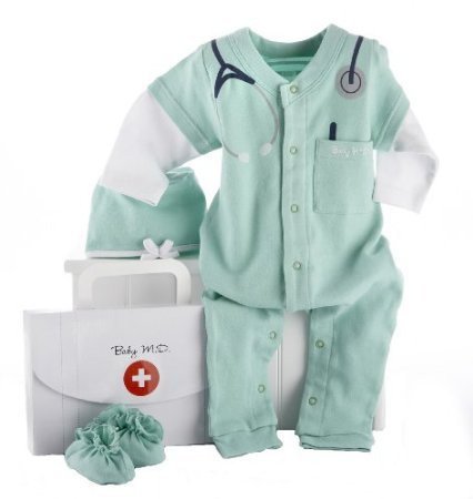 Baby Aspen Big Dreamzzz Baby M.D. Layette Set With Gift Box, Green, 0-6 Months front-987566