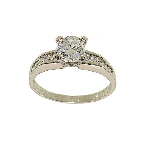 Silvertone Classic Engagement Ring Style Solitaire Fashion Ring with Channel Set Sides in Clear Cubic Zirconia Size 6