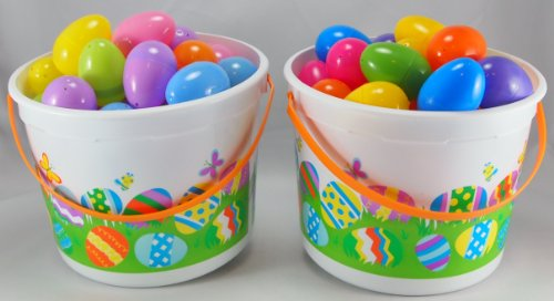 Easter Egg Shells (2 x 40-ct) Set with 2 Easter Buckets and Easter Grass イースターエッグ プラスチック お得パック【84個入り】 バケツ2個つき 【ハワイより】お届け