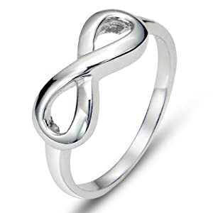 925 Sterling Silver Infinity Symbol Wedding Band Ring, HALF SIZES Available, Limited time offer at special price from Metal Factory