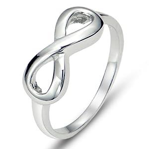 925 Sterling Silver Infinity Symbol Wedding Band Ring, Nickel Free Sz 6