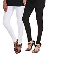BULLY Women's Cotton Lycra Leggings combo of 2(MPJLEG-24-XL, White, Maroon)