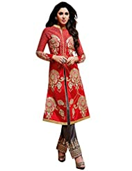 Red Pure Bhagalpuri & Georgette Straight Unstitched Suit With Red Dupatta