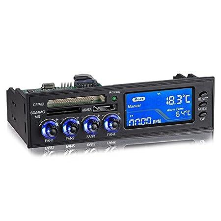 """Eximtrade 5.25"""" Lecteur de Carte eSATA CF SD MD MS MMC Contrôleur de Vitesse Ventilateur 4 Ventilateurs LCD CPU HDD l'ordinateur Température Capteur"""