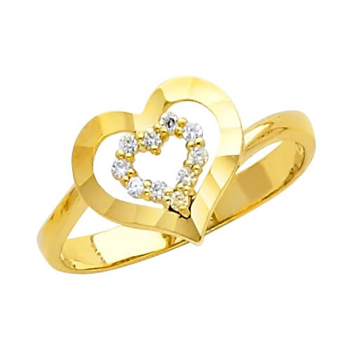 14K Yellow Gold High Poliosh Finish Heart Solitaire Round-cut Top Quality Shines CZ Cubic Zirconia Ladies Promise Ring Band - Size 4