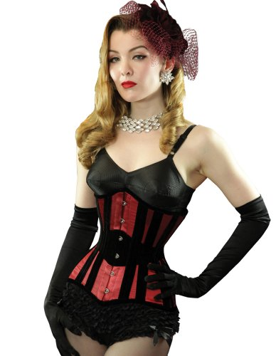 What Katie Did Lalique Morticia Velvet Ruby Red Underbust Corset 18″ Waist Red L4084