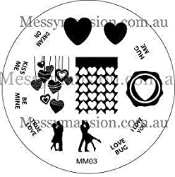 Messy Mansion Mm03 Nail Art Stamping Plate Valentines Day