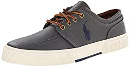 Polo Ralph Lauren Men\'s Faxon Low Rubber Fashion Sneaker, Charcoal Grey, 9 D US