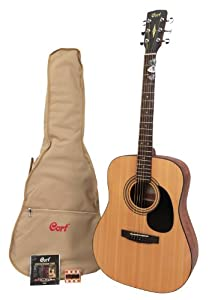 cort ad810 acoustic guitar set with accessories string thickness 12 52 natural wood medium. Black Bedroom Furniture Sets. Home Design Ideas