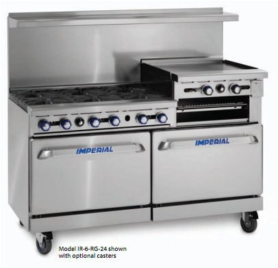 "Imperial - Igt-6-G24 - 60"" Green Tech Range W/ 6 Burners & 24"" Griddle"